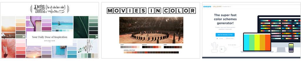 """Da esquerda para a direita, Inspire-se a partir de belas imagens no design-seeds.com (na seção """"by color"""" é possível pesquisar paletas a partir decores específicas), busque referência no que o cinema ou a televisão já fazem e fazem muito bem no moviesincolor.com ou simplesmente aperte a barra de espaço e veja o que acontece no coolors.co/app."""